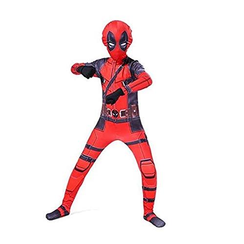 FINDPITAYA Disfraz Deadpool Halloween Navidad Fiesta Cosplay Costume con Mascara y Guantes (140-150cm)