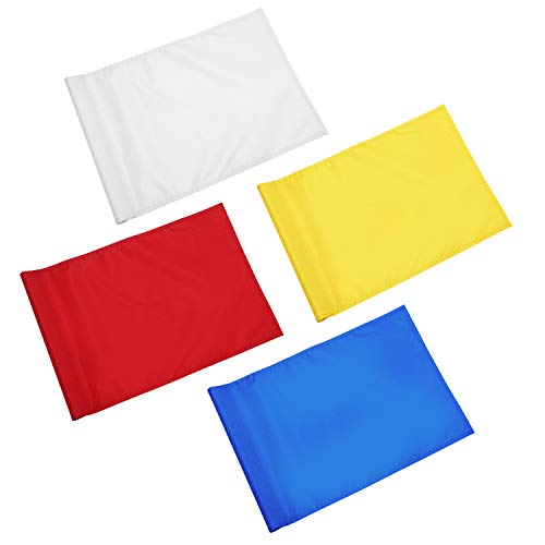 Solid Golf Flag with Plastic Insert, Putting Green Flags for yard, Indoor/Outdoor, Garden Pin Flags, 420D Premium Nylon Flag, 13 L x 20 H, Red/White/Yellow/Blue