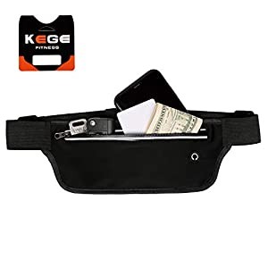 KEGE Multiple Color Slim Reflective Running Belt Fanny Pack, Bounce Free Water Resistant Exercise Workout Pouch Lightweight Waist Pack Gym Phone Holder for All Kinds of Phones (Carbon Black)