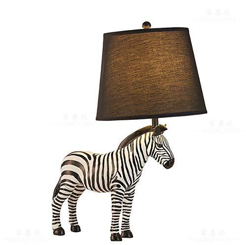 XZLIGHT kinderslaapkamer tafellamp bedlampje stof lampenkap zebra decoratieve lamp vermogen A +