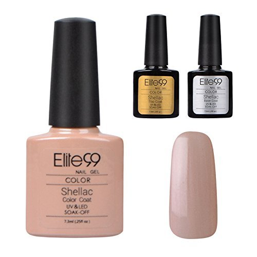 Elite99 Shellac UV LED Gel auflösbarer Nagellack nude/Nude Beige Base Coat Top Coat, Nagelgel Farbgel Farblack (3 x 7.3ml)