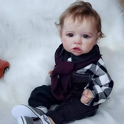 Bongba Muñeca de bebé renacido de silicona suave de 55,8 cm, juguete de muñeca de vinilo para recién nacidos, de aspecto realista, para niños a partir de 3 años.