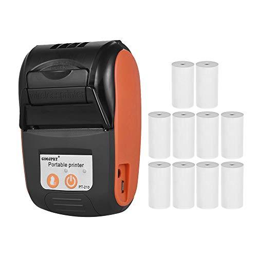 Aibecy GOOJPRT PT-210 Thermodrucker, tragbar, 58 mm, für Einzelhandelsgeschäften, Restaurants, Fabriken, Logistik, 10 Papierrollen Orange , with 10 Paper Rolls