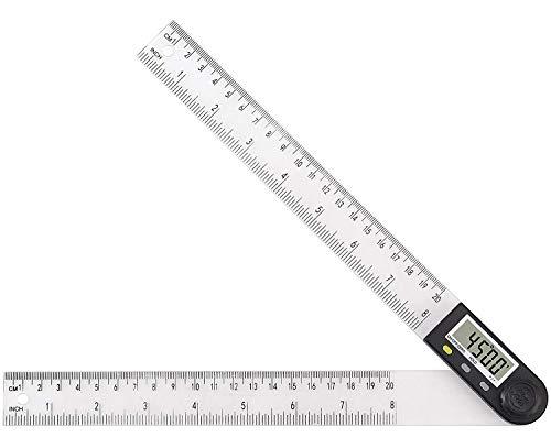 eSynic Medidor de Ángulos Digital 8 pulgadas/200 mm Regla de Buscador de Plástico de PVC con Pantalla LCD de Restablecimiento de Puesta a Cero para Carpintería Construcción Reparación