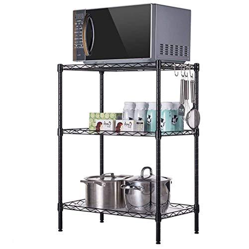 ZGQA-GQA Kitchen shelf Lixin Microwave Oven Racks Floor Multilayer Balcony Bedroom Storage Wrought Iron Home Storage Display (color : Black, Size : 58 54 29cm) (Color : Black, Size : 58 54 29c