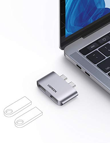UGREEN USB C Hub Macbook Pro Adapter for Macbook Type C to Dual USB 3.1 Ports with 10Gbps Speed Compatible with Macbook Pro Macbook Air 2020/2019/2018 for Mouse Keyboard U Disk and USB Devices