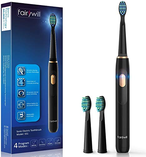 Electric Toothbrush, Fairywill Sonic Whitening Rechargeable Toothbrush for Adults and Kids, Travel Design 4 Modes, Power Toothbrush USB Fast Charging with Timer, 2 Brush Heads 551 Black Series