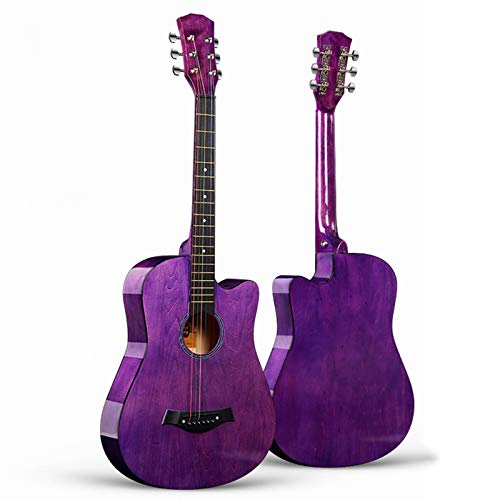 YYFANG Classical Guitar Full Size Retro Style Steel Strings Starter Guitar Pack with Acoustic Guitar and Accessories (Color : Purple, Size : 38 inches)