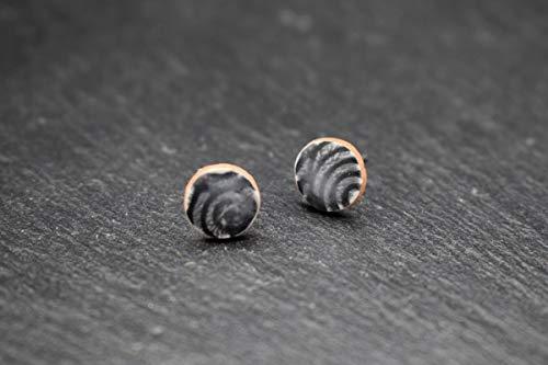 Keramik-Designer-Schmuck für Damen Ohrstecker rund in grau schwarz Handmade Modeschmuck Ohrringe aus Fliesen