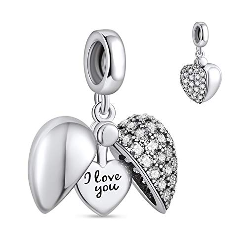 "NINGAN ""I Love You"" Heart Pendant Charm 925 Sterling Silver Dangle Charms Compatible With European Bracelets & Necklaces"