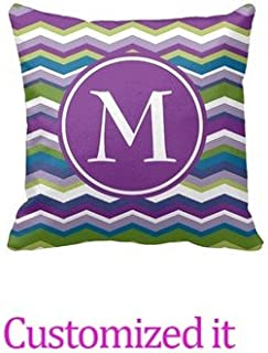 Purple and Green Chevron Pattern with Monogram Pillowcase Customized Text Outdoor/Indoor Throw Pillow Covers