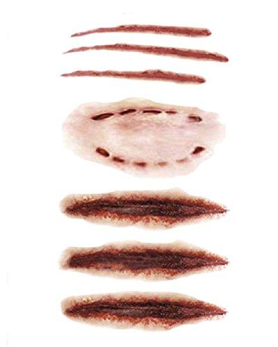 DELEY 6pcs Halloween Terreur Zombie Cicatrices Sanglantes Blessure Autocollant Spécial Maquillage Waterproof Tatouages Temporaires Modèle 3