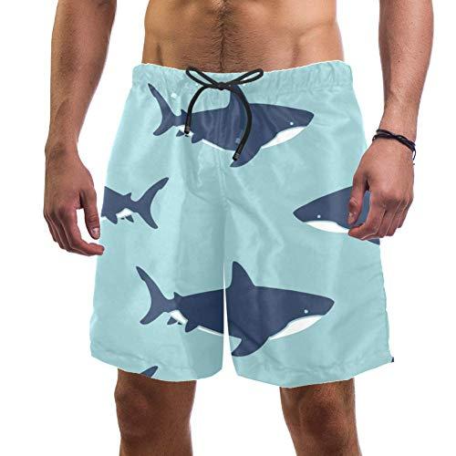 Lorvies Herren-Badehose, weiße Haifisch-Muster, schnelltrocknend, Größe L Gr. XL, multi
