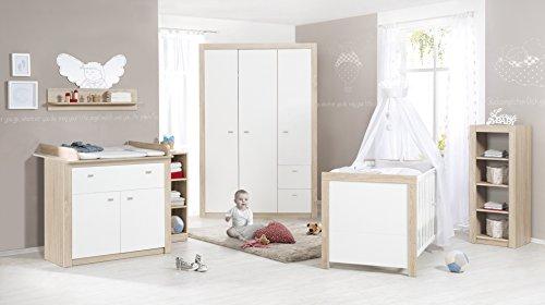 roba Komplett-Kinderzimmer 'Leni 2', Babyzimmer Set, inklusive Kombi Kinderbett 70 x 140 cm, Wickelkommode & 3-türigem Kleiderschrank, weiß/Eiche sägerau