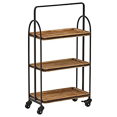Stone & Beam Industrial Rustic Arced Rolling Wood Metal Kitchen Bar Cart Island with Wheels, 37.2 Inch Height, Storage, Brown, Black