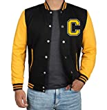 Yellow And Black Varsity Bomber Jacket Men | C Yellow sleeve | L