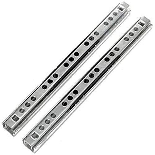 YUANP Corredor Telescópico Plegable Gabinete para El Hogar Cajón Telescópico Deslizante Rodamiento De Bolas De Acero 2 Piezas De Metal,Silver-16inch