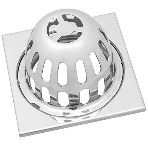 PrimeMatik - Sumidero 9x9cm con Rejilla Alta extraíble de Acero Inoxidable Brillante