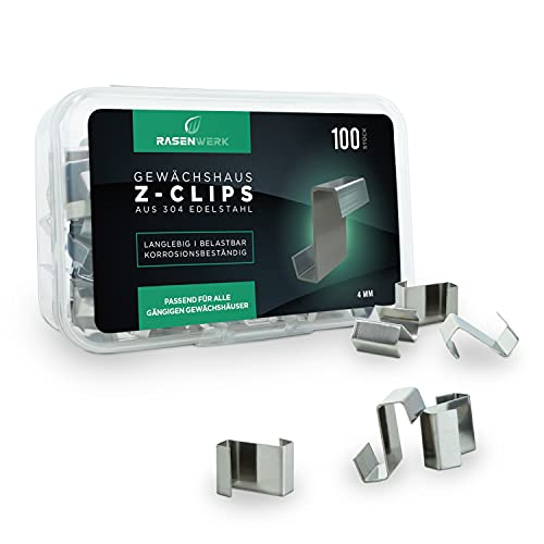 RASENWERK® - Z-Clips für Gewächshäuser - 100 Stück - aus AISI 304 rostfreiem Edelstahl - für max. 4mm starke Gewächshaus Glasplatten - Haken für Gewächshaus Platten