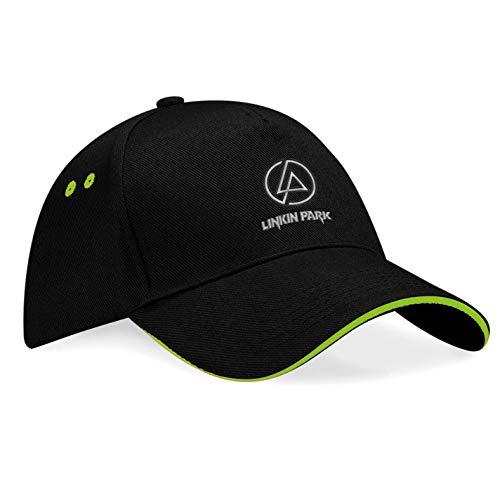 caprica91 Linkin Park Metal-Band Bestickte Logo Baseball Cap Mütze — k174 — SW-Grün