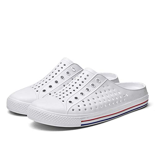 Men's and Women's Hole Shoes | Slip On Casual Water Shoe | Couple Flats Breathable Antiskid Light Slippers | Unisex Summer Lightweight Sneaker White