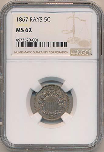 1867 P Shield Nickel Nickel MS62 NGC