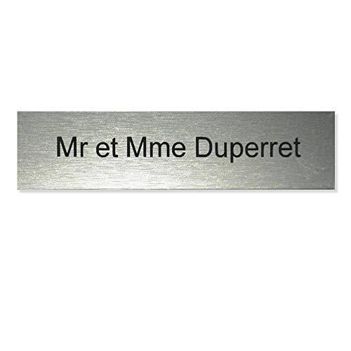 Plaque boite aux lettres format Decayeux (100x25mm) gris argent lettres noires - 1 ligne - Plastique - 0.16