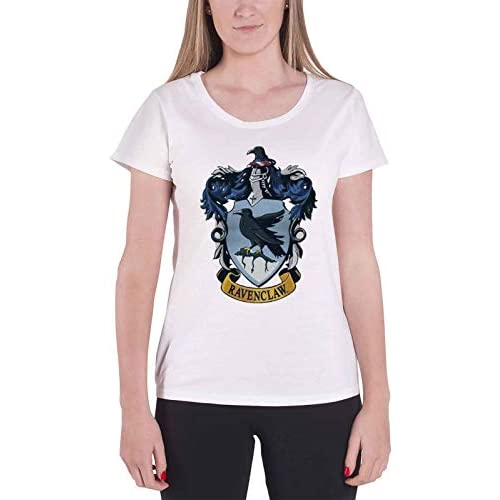 Harry Potter T Shirt House Ravenclaw Ufficiale Da donna nuovo bianca Skinny Fit