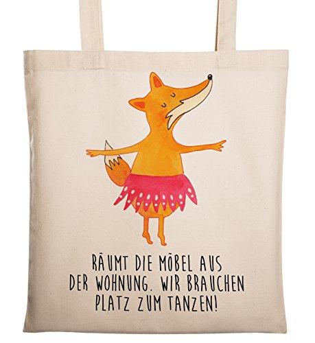 Mr. & Mrs. Panda Baumwolltasche, Beutel, Tragetasche Fuchs Ballerina mit Spruch - Farbe