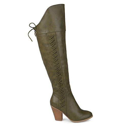 Brinley Co. Regular and Wide Calf Faux Leather Faux Lace-up Over-The-Knee Boots Olive, 8.5