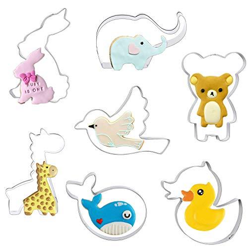 Orapink Juego de 7 Cortadores de Galletas de Animales con Formas de Acero Inoxidable para Hornear - Conejo, Elefante, Jirafa, Pájaro, Oso, Ballena y Pato