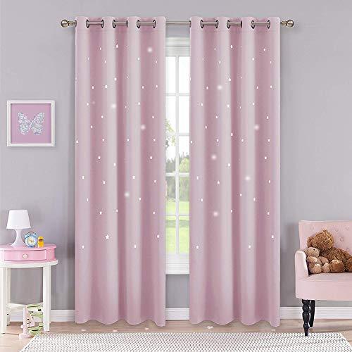 PONY DANCE Vorhang Hellpink (Babyrosa) Mädchenzimmer - 2er Set H 210 x B 132 cm Kinderzimmer Gardinen Blickdicht Ösenschal Blickdichter Vorhang mit Hohlen Sternen