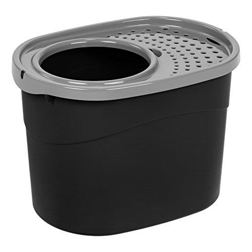 IRIS USA Top Entry Cat Litter Box, Black/Gray, large (589622)