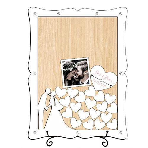 GAOYH Alternativa Al Libro de Invitados para Bodas, Marco de Madera 2 en 1 con Tapa Abatible con 51 Corazones de Madera, Pegatinas de Fotos de 1 Pieza, para La Recepción de La Boda, Celebraciones