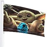 BHGYT Baby Master Yoda Flagge 3x5 FtDecorative im Freien Anti-UV-Verblassen in Innenräumen Flaggen Saisonale und Holiday Yard Flagge Banner Polyester 3x5 Fuß
