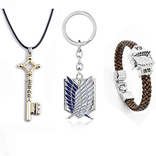 SUPFANS Anime Attack on Titan Eren Jaeger Key Pendant Necklace Survey Corps Bracelet and Keychain Wings of Freedom Wristband (Style-B)
