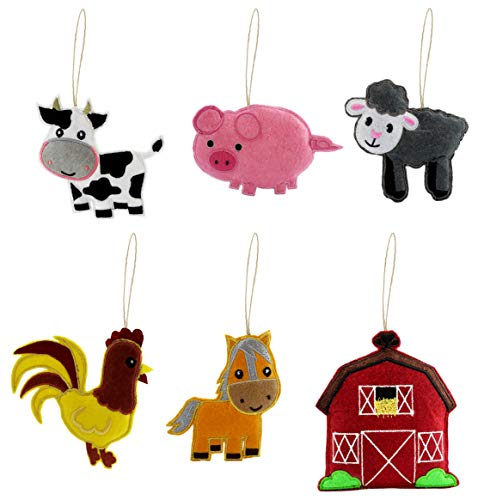 Darware Farm Animal Decorations Set (6-Piece Set); Plush Craft and Holiday Ornaments with Baby Farm Animals: Sheep, Pig, Chicken, Cow, Horse and a Barn to Live in