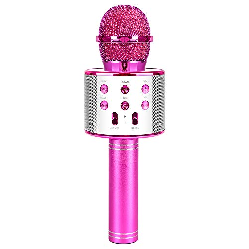 SUNNYPIG Gift for 4-12 Year Old Girl Kids, Wireless Bluetooth Microphone Toys for 6-12 Year Old Kid Girl Singing Microphone Birthday Gift for Girl Child Toy Age 5-11 Girl Karaoke Microphone Pink MIC