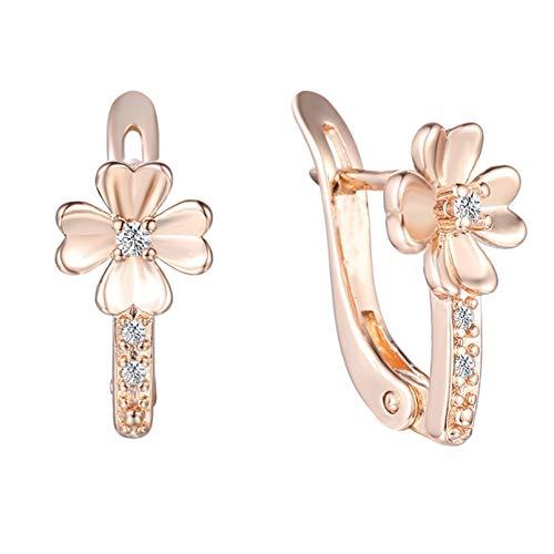 BAJIE Pendientes 2 Elegir Flores Pendientes claramente circonita cúbica Blanca 585 joyería de Color Oro Rosa Pendientes de Mujer