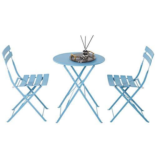 Grand patio Ensemble Bistrot, 2 Chaises Pliables et 1 Table Ronde, Diverses Couleurs, Salon de Jardin, Acier thermolaqué, Set de Bistro pour Balcon, Jardin, Intérieur, Extérieur (Bleu)