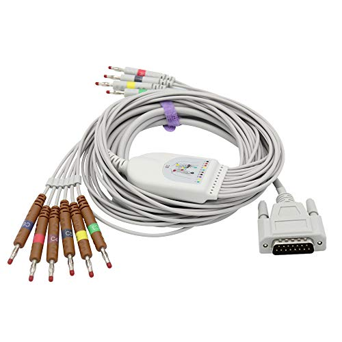 Cables compatibles del cable 10 de ECG/del EKG para el plátano 4.0m m FDA/CE de Edan IEC aprobado SK1221B 🔥