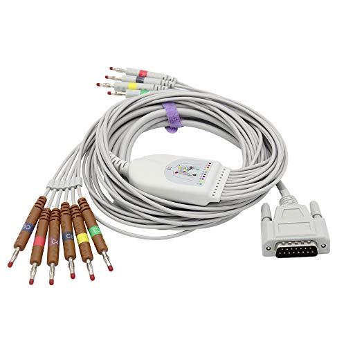 Cable ECG/EKG compatible con 10 cables para Edan IEC Banana 4.0 mm, aprobado por la FDA/CE SK1221B ⭐