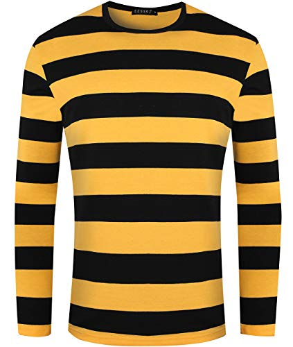 Ezsskj Men's Lounge Underwear Long Sleeve Black Yellow Striped T Shirt Pullover Stripe tee Shirt for Halloween Costumes Cosplay wear