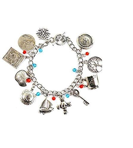 Braccialetto con ciondolo ispirato a C'era una volta, motivo: Talismano Emma Swan, in argento antico