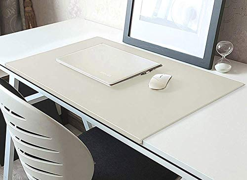 Alfombrilla de ratón con protector de bordes, de piel sintética, para oficina, hogar, oficina, hogar, con borde de fijación, suave alfombrilla de ratón para juegos, color blanco 80x50cm