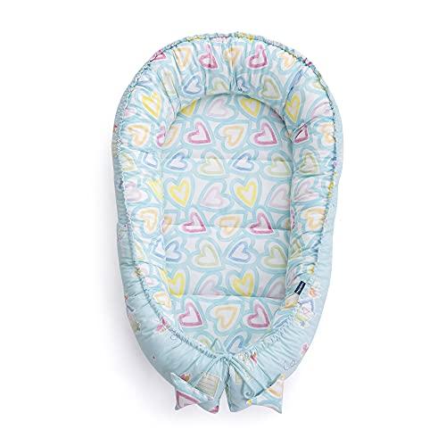 Cuna de viaje para bebés recién nacidos, 3 piezas, 100 % algodón, 95 x 60 x 15 cm, extraíble, cojín de mariposa de MayaMila (mini niña en el jardín de ensueños)