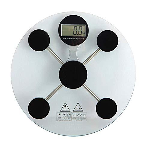 Báscula electrónica Digital Redonda, Weight Watchers Básculas de baño de Alta precisión, ultradelgada, Extra Ancha, 2 baterías alimentadas, Color Negro