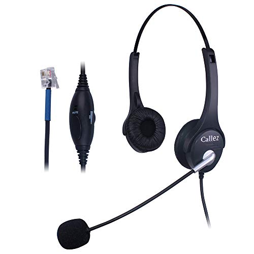Callez C402C1 Corded Telephone Headset Binaural, Call Center RJ11 Headphones with Noise Canceling Mic, Compatible for Plantronics M10 M12 M22 MX10 Amplifiers or Cisco 7940 7942 7971 Office IP Phones