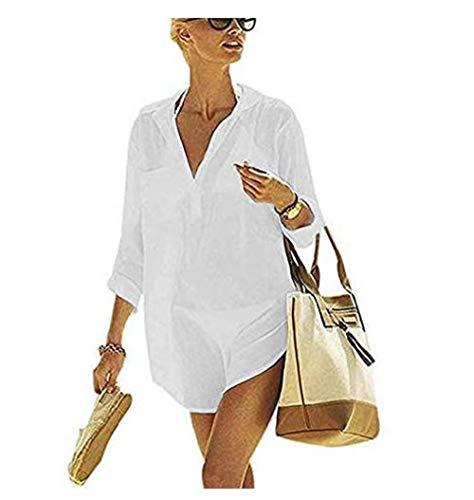 heekpek Copricostumi e Parei Donna Costumi da Bagno Abito Camicia da Donna Sexy Sciolto Beachwear Cover Up Costumi da Bagno Bikini Copricostume Spiaggia Camicetta