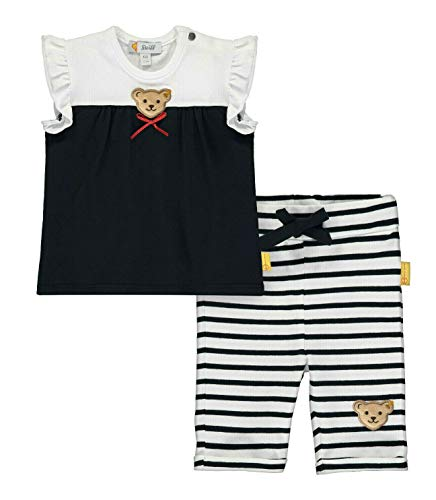 Steiff Baby-Mädchen Set T-Shirts+Leggings, Blau Navy 3032, 74